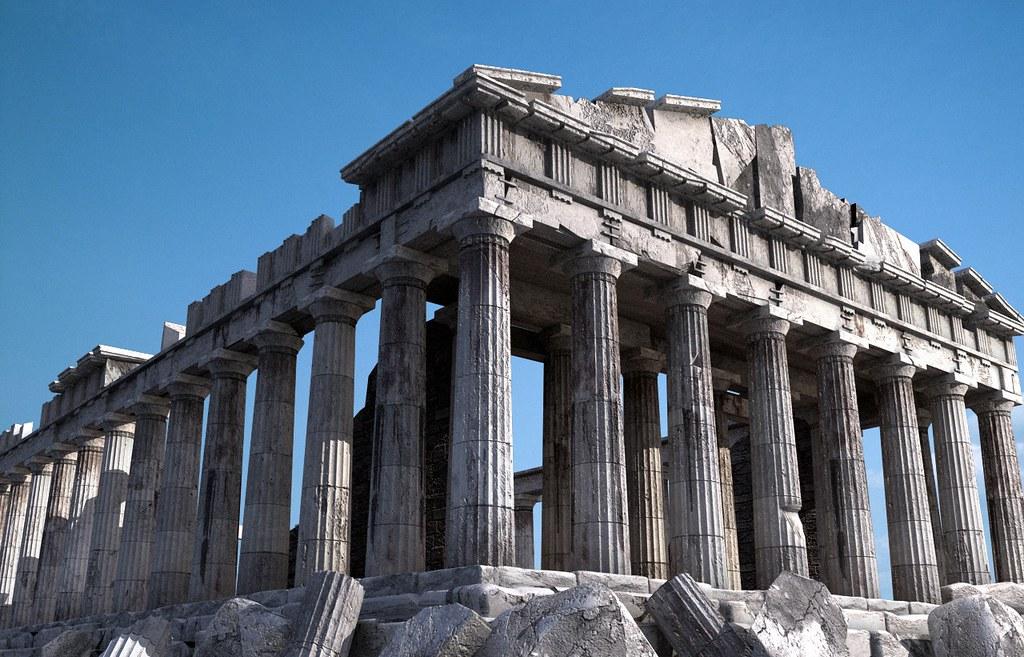 the parthenon 日本語: パルテノン神殿 (ギリシャ語: παρθενώνας)は紀元前5世紀にギリシャのアテネのアクロポリスの丘に建てられた神殿である。 現在は世界遺産として保存されており多くの観光客が訪れる.