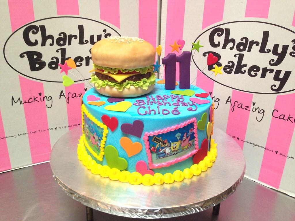 Spongebob Themed 11th Birthday Cake With 3d Krabby Patty H Flickr