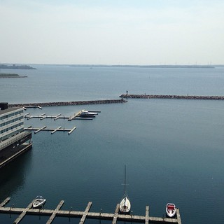 12th floor view of Lake Ontario #ygk #downtownkingston #latergram #waterfront #lake #nofilter