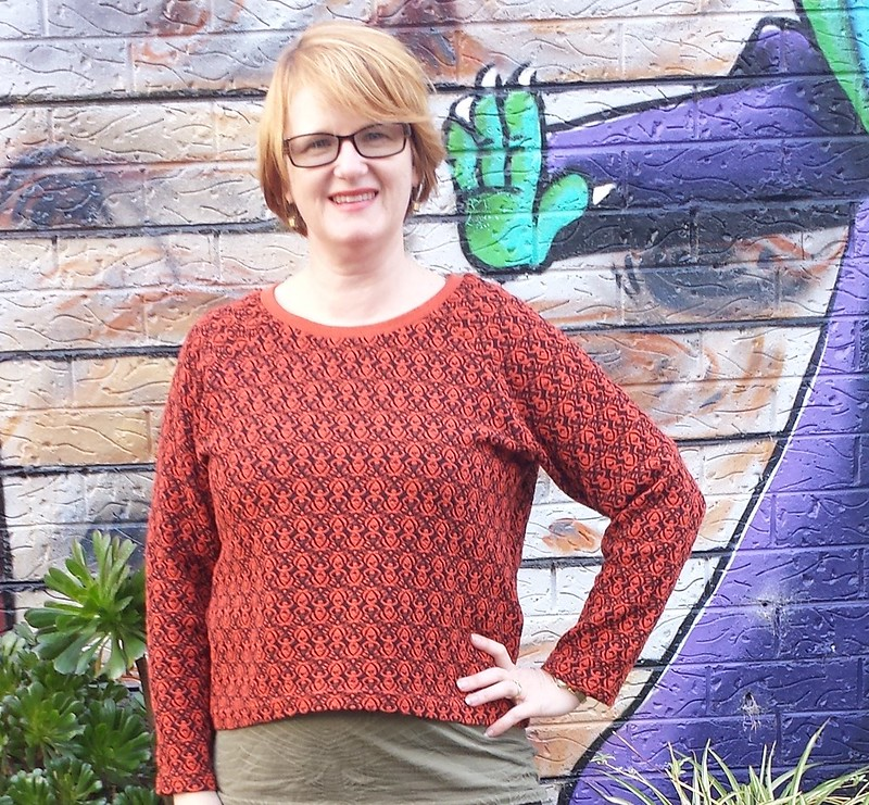 Grainline Linden sweater in jacquard knit from Darn Cheap Fabrics