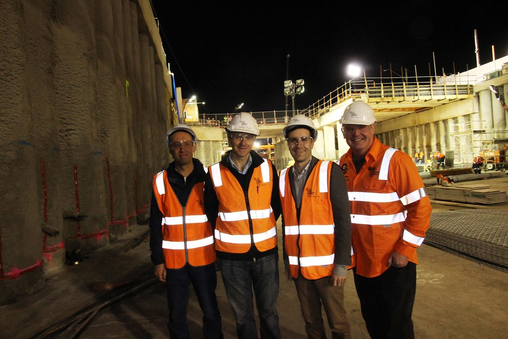 Daniel, Steve, Nick, Shaun. Bentleigh station under construction, July 2016. (Pic: Office of Nick Staikos)