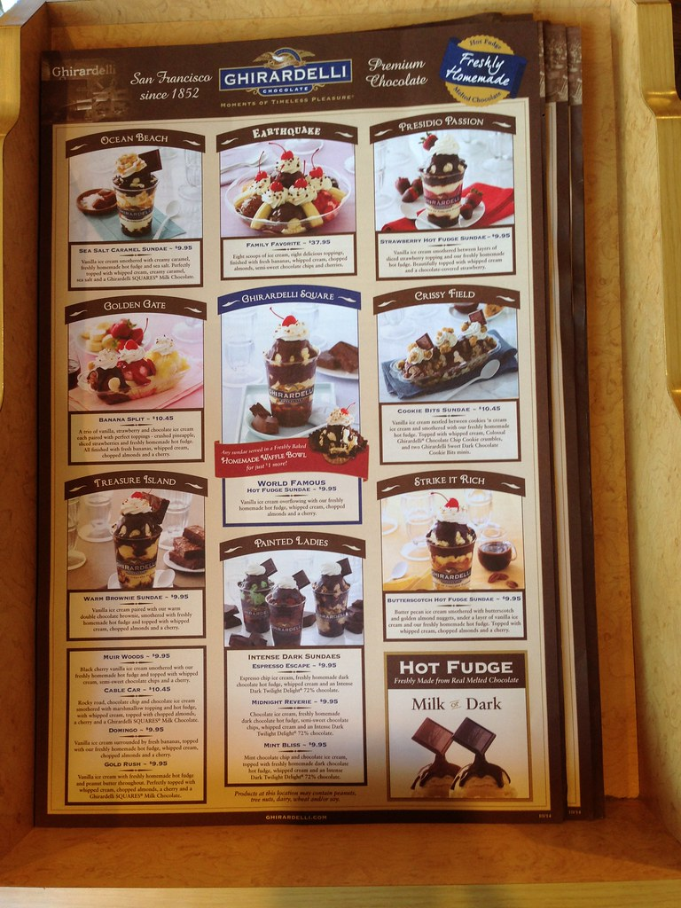 Ghirardelli Square Ice Cream Menu Ghirardelli Ice Cream Menu