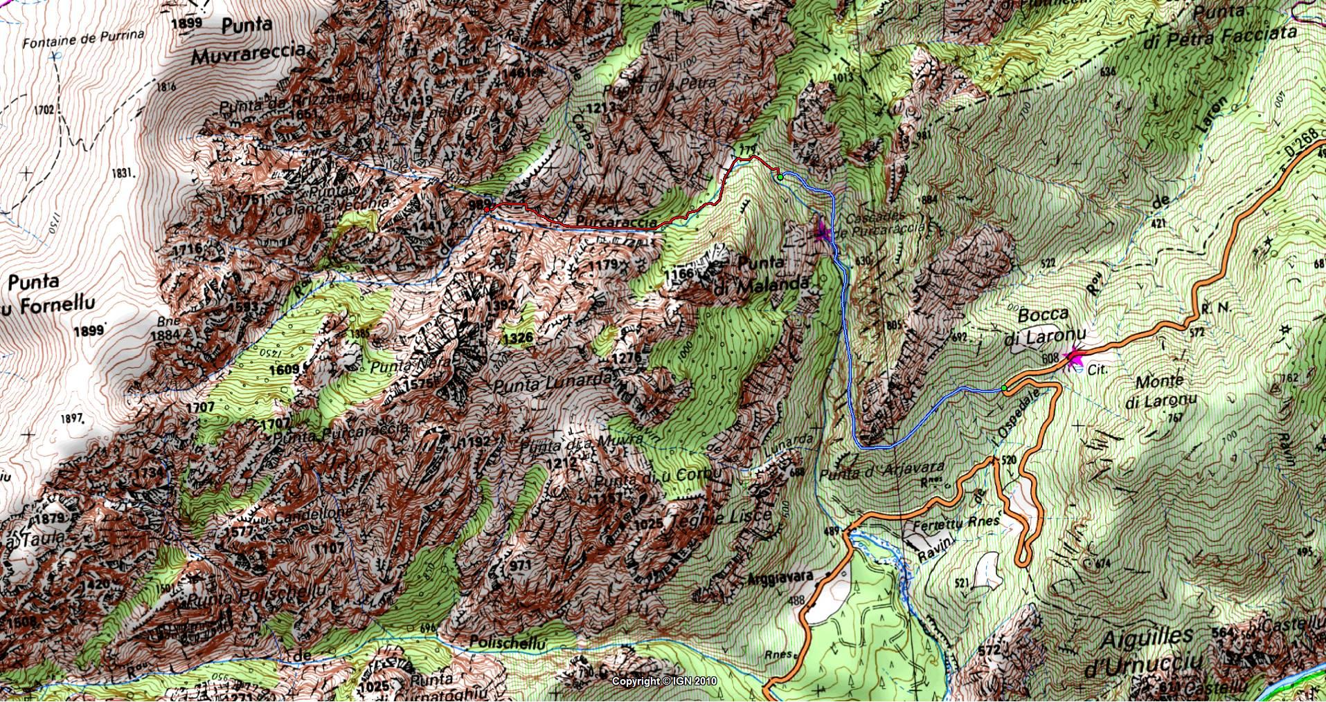 Carte De La Rgion Bavedda Autour Du Ruisseau Purcaraccia Avec En Bleu Le Trac