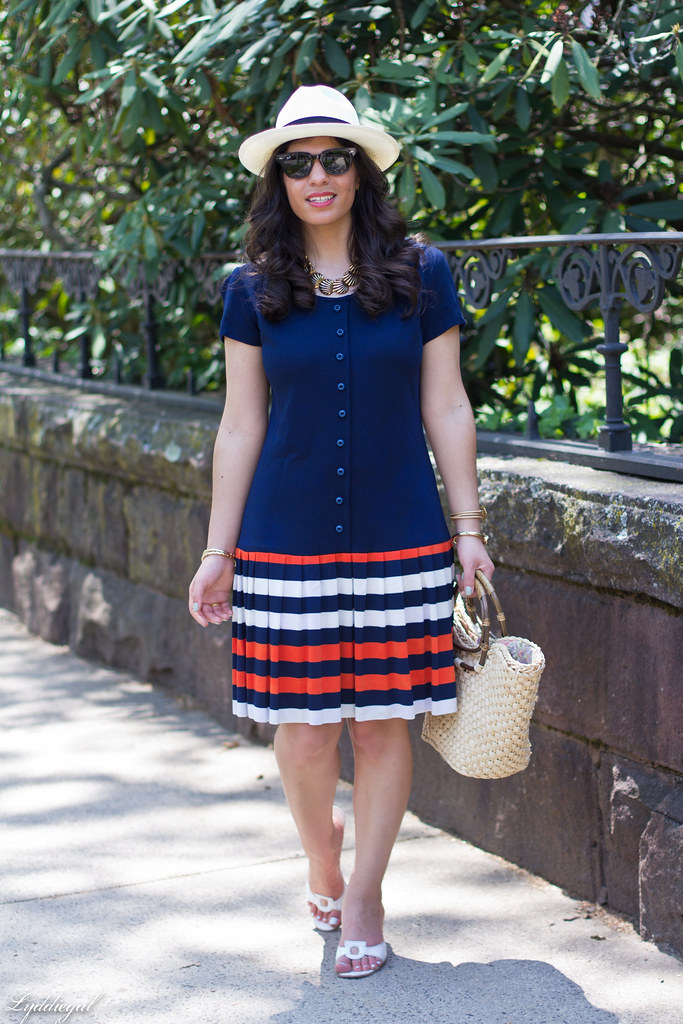 navy drop waist dress, panama hat, straw bag-2.jpg