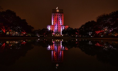 Houston, TX City Hall building lit up at night with reflecting pool | by elnina999