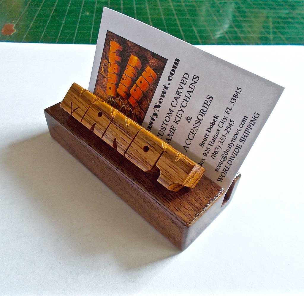 Zebrano and Walnut Wood Desk Name and Business Card Holder… | Flickr
