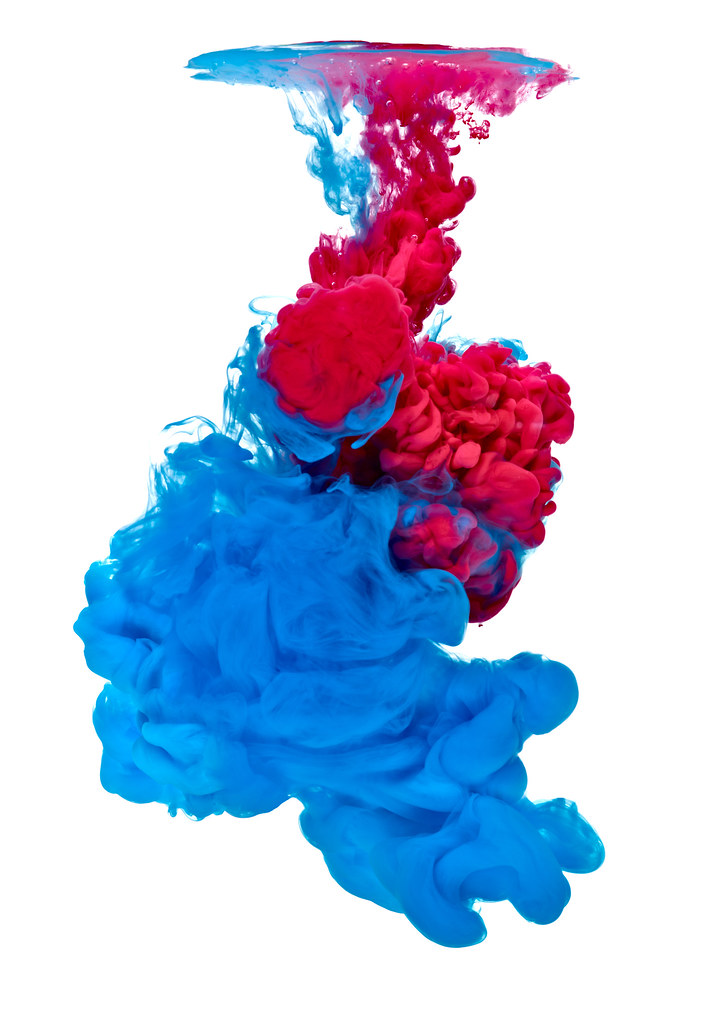 Paint In Water Color Liquid Blue Red Blue Red Paint In