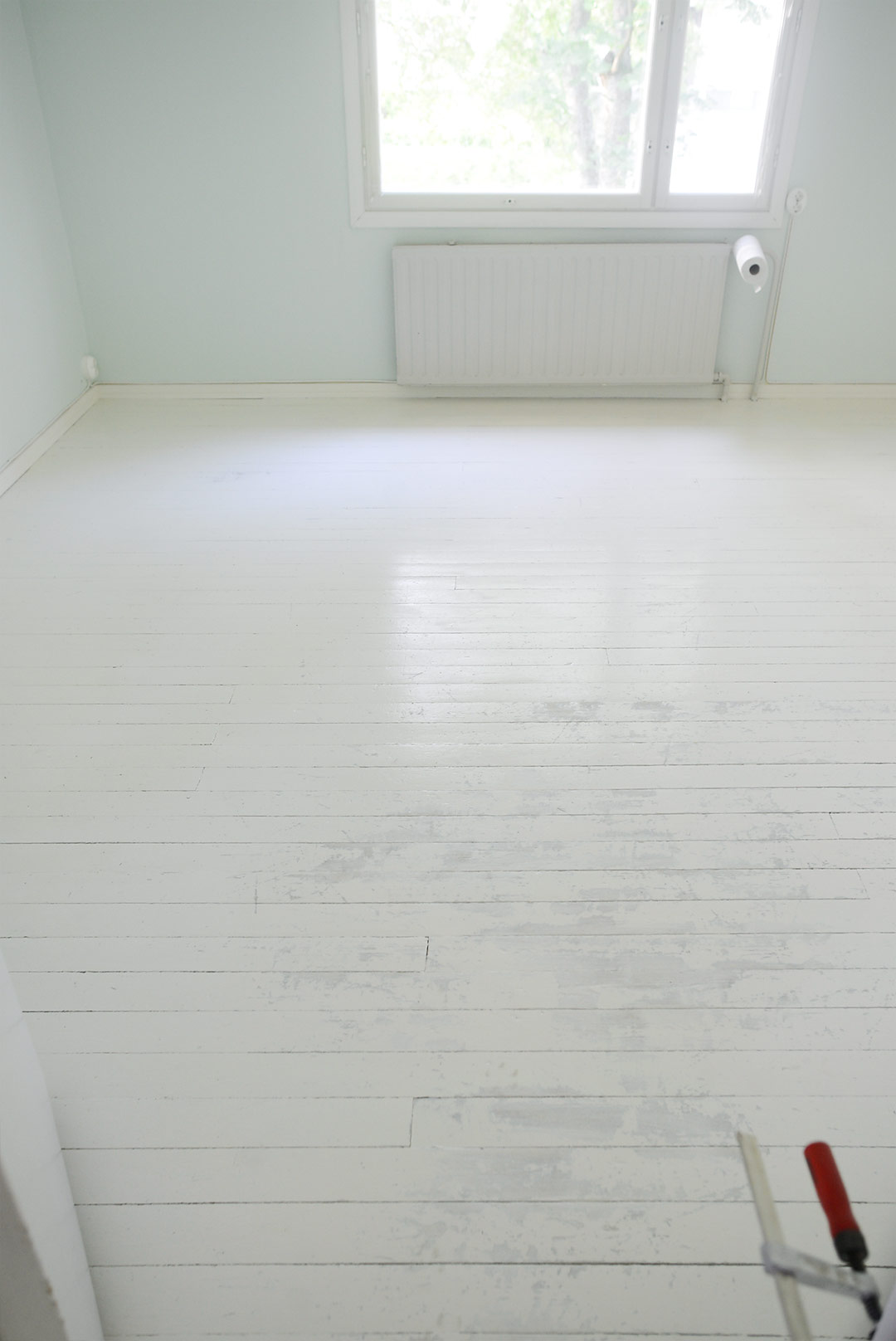 Floor after one coat of paint