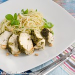 Pesto-Glazed Chicken Breast with Spaghetti