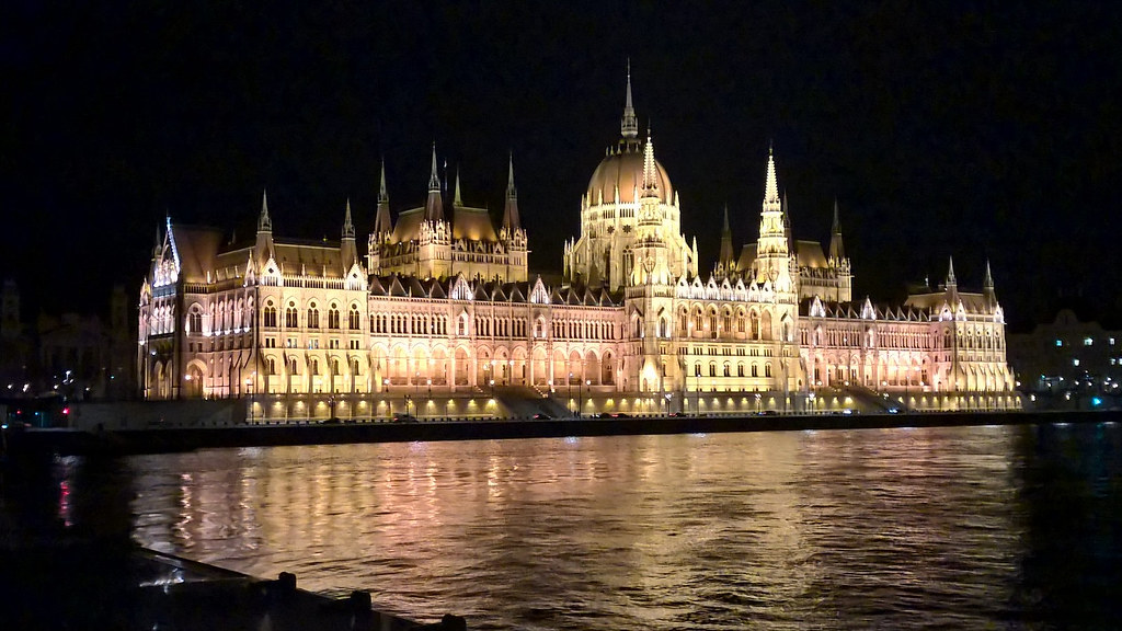 Hungarian Parliament illuminated at night
