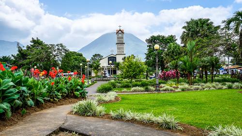 Town square, La Fortuna de San Carlos.  Alajuela, Costa Rica.