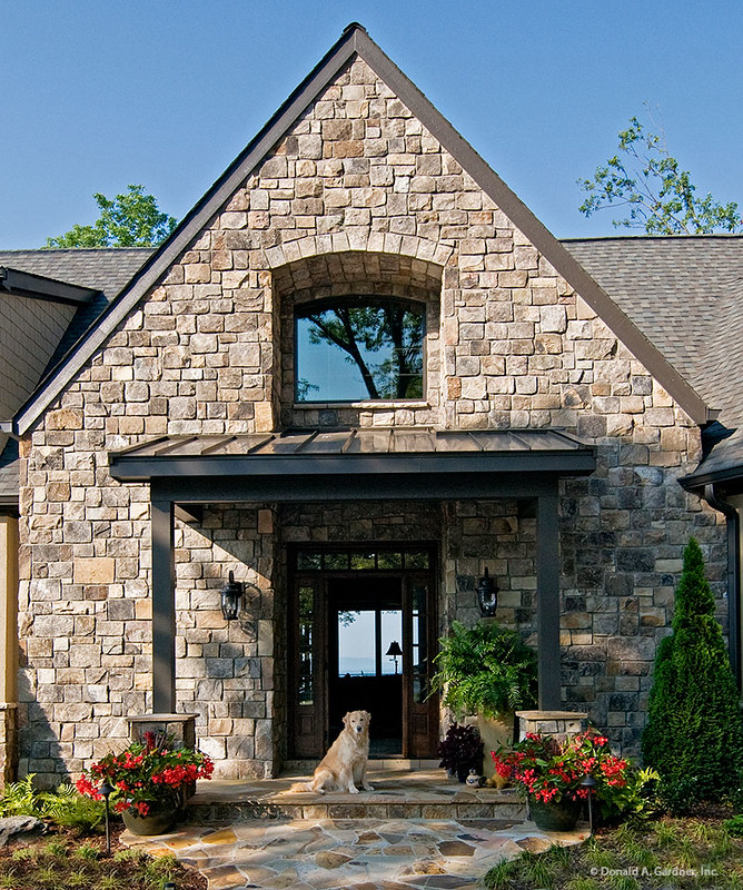 Stone Exterior Detail of Plan #875-D - The Rockledge