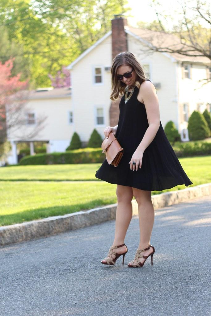 Little Black Trapeze Dress | #LivingAfterMidnite