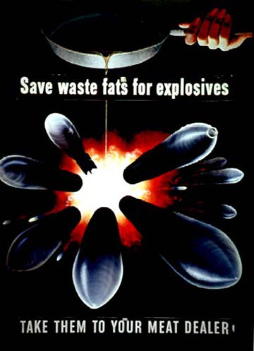 World War II Poster - Save waste fats for explosives