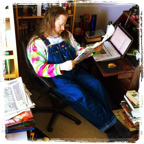 A day in the life: I read the news today, oh boy.... #TheBeatles #overalls #reading #denim