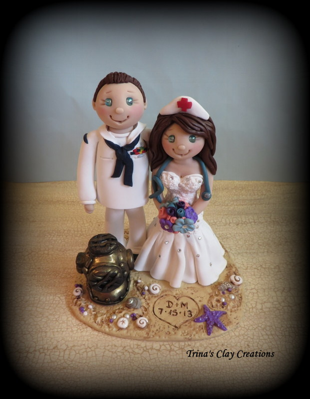 Navy Diver And Nurse Wedding Cake Topper