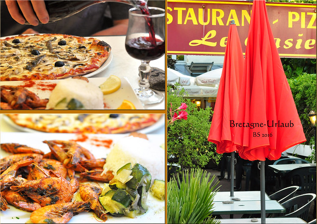 """Restaurant / Pizzeria CASIER in Saint-Gildas-de-Rhuys ... für uns immer eine gute Adresse. Die knusprigen Pizze aus dem Holzofen sind unschlagbar und auch alles andere sehr lecker. Hier: """"La Napolitaine"""" sowie ein """"Sauté de crevettes aux 5 parfums"""". Rotwein, Espresso und ein Amaretto aufs Haus. Fotos und Collagen: Brigitte Stolle 2016"""