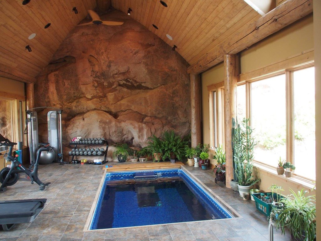 Home gym with inground endless pool integrating a rocky for State of the art house designs