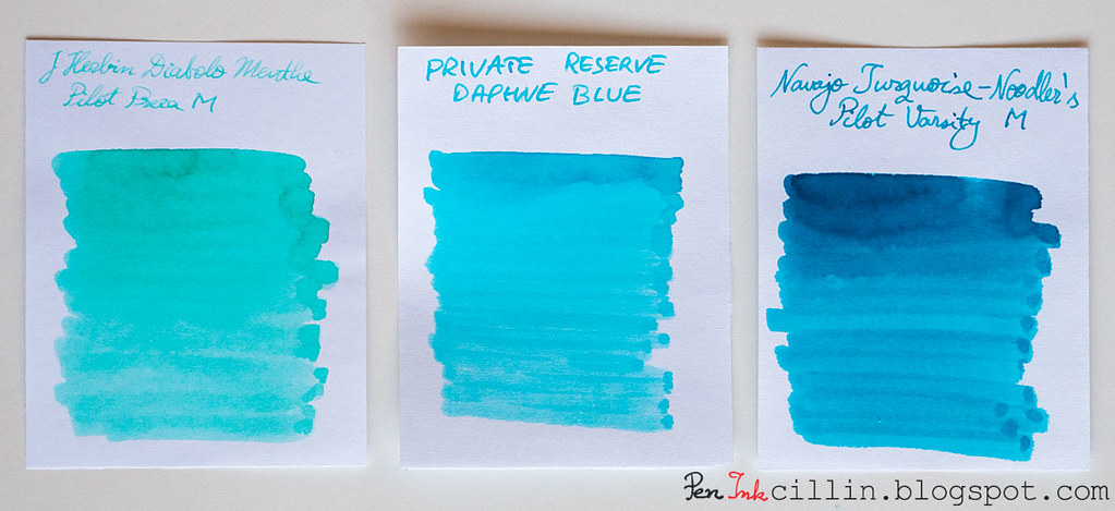 Private Reserve Daphne Blue Vs J Herbin Diabolo Menthe Noodlers Navajo Turquoise