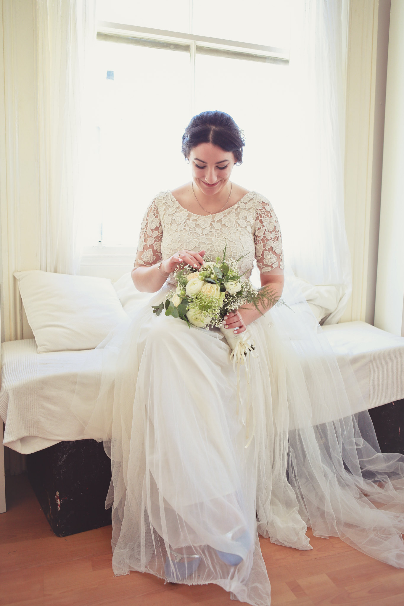 Lace and Tulle Wedding Dress Bridal Portrait