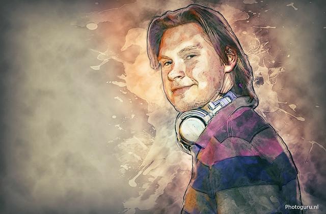 dj geschilderd met wacom tablet in photoshop