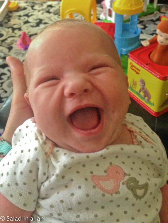 Bridget smiling at 3 weeks