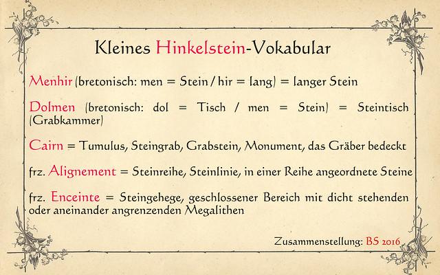 Hinkelstein Vokabeln Menhir Dolmen Alignements Steinreihen Cairn Tumulus Steingehege ...