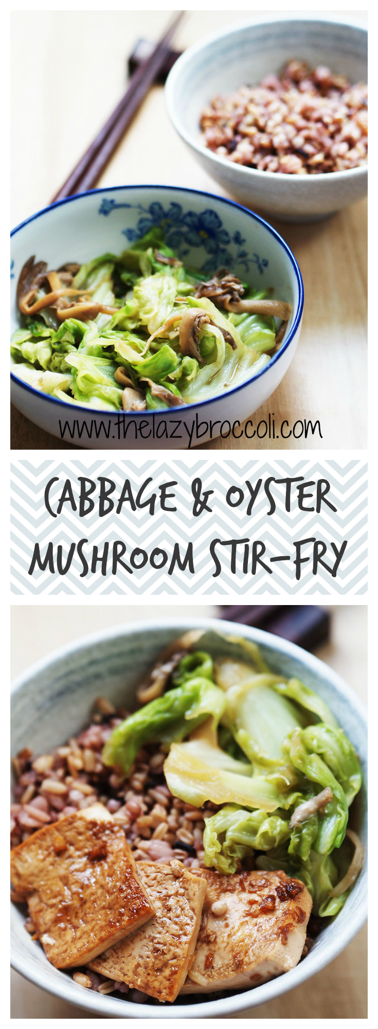 This cabbage and oyster mushroom stirfry is absolutely delicious even though it is ridiculously #easy to make! You don't even need a knife for this one ;) #cabbage #mushrooms #stirfry #vegan #vegetarian #noonionnogarlic #chinese #asian #recipe #glutenfree #lowcarb #thelazybroccoli