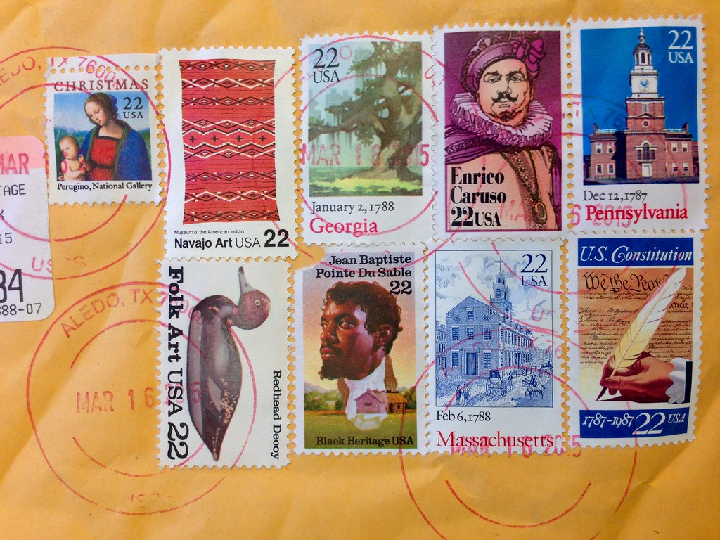Gorgeous assemblage of stamps on book mail