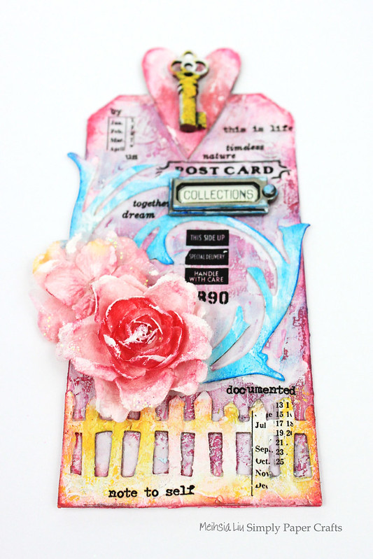Meihsia Liu Simply paper crafts Mixed media tag texture collection Tim Holtz