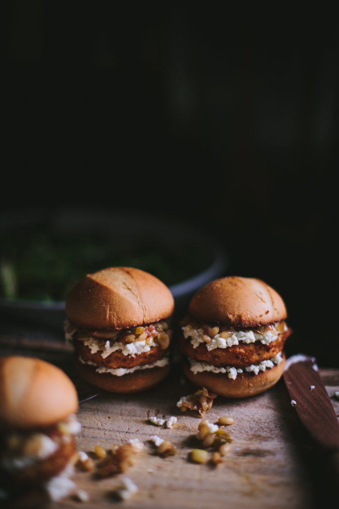 Sliders with Caramelized Green Onions & Sheep's Cheese by Eva Kosmas Flores | Adventures in Cooking