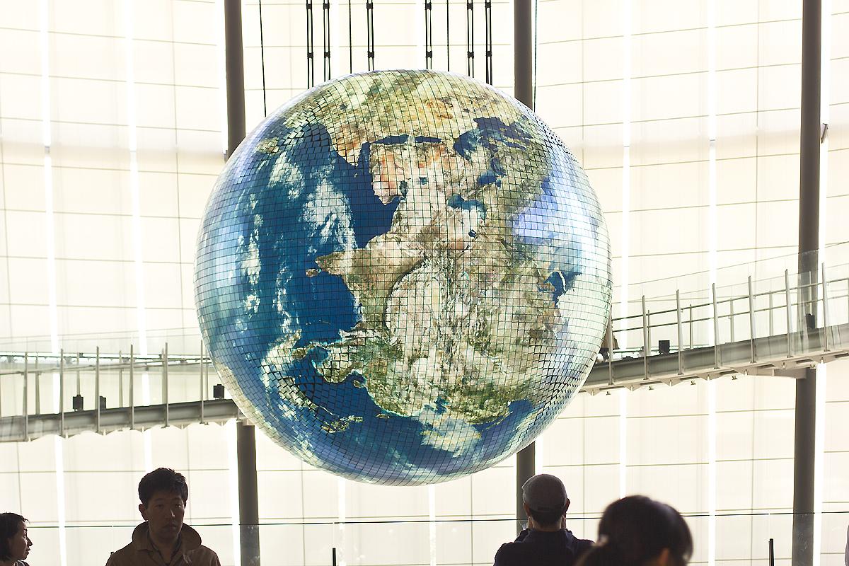 robot miraikin emerging technology japan museum science globe led lcd world