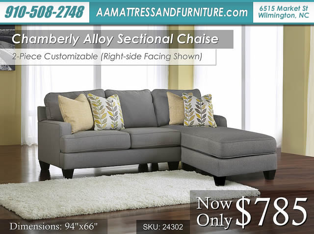 Camberly Alloy Sectional Chaise W