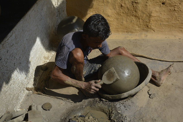 """Within a decade, only 10 families out of 150 in Jevara Sirsa village in Durg, are pursuing pottery.   The reasons for this decline in the pottery business are the reduced quality and availability of soil, the increased cost of the soil, and the reduced demand for mud pots"", says Sohan Kumbhakar, a resident of Jevara Sirsa, Durg."