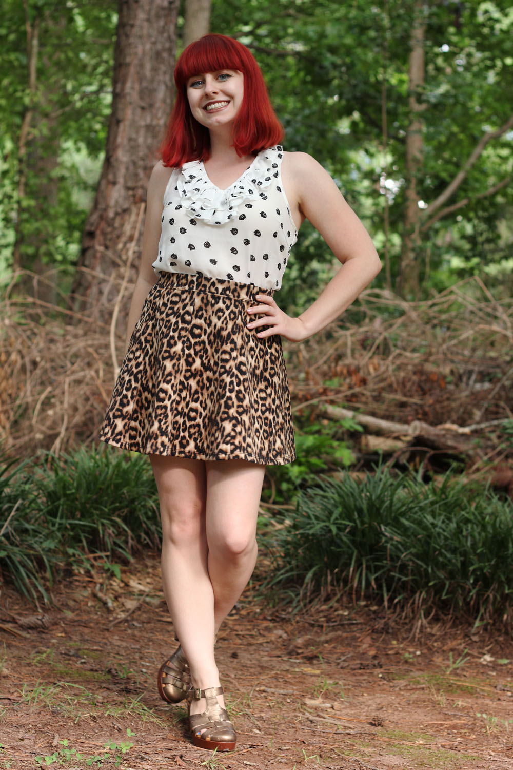 Ruffled Cat Print Tank Top Leopard Print Skater Skirt Bronze Fisherman Sandals