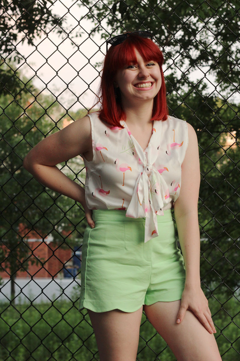 Petite Summer Outfit Pink Flamingo Pussy Bow Blouse Green Scalloped Hem Shorts