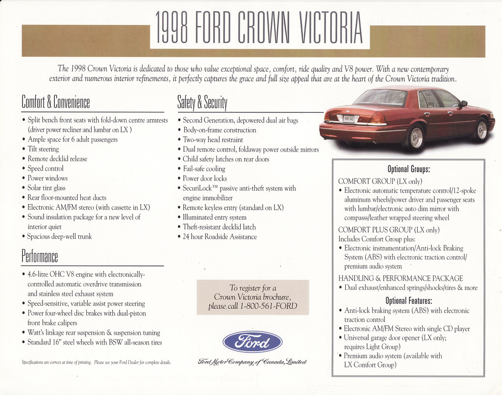 ... 1998 Ford Crown Victoria Brochure - Canada | by Five Starr Photos (  Aussiefordadverts)