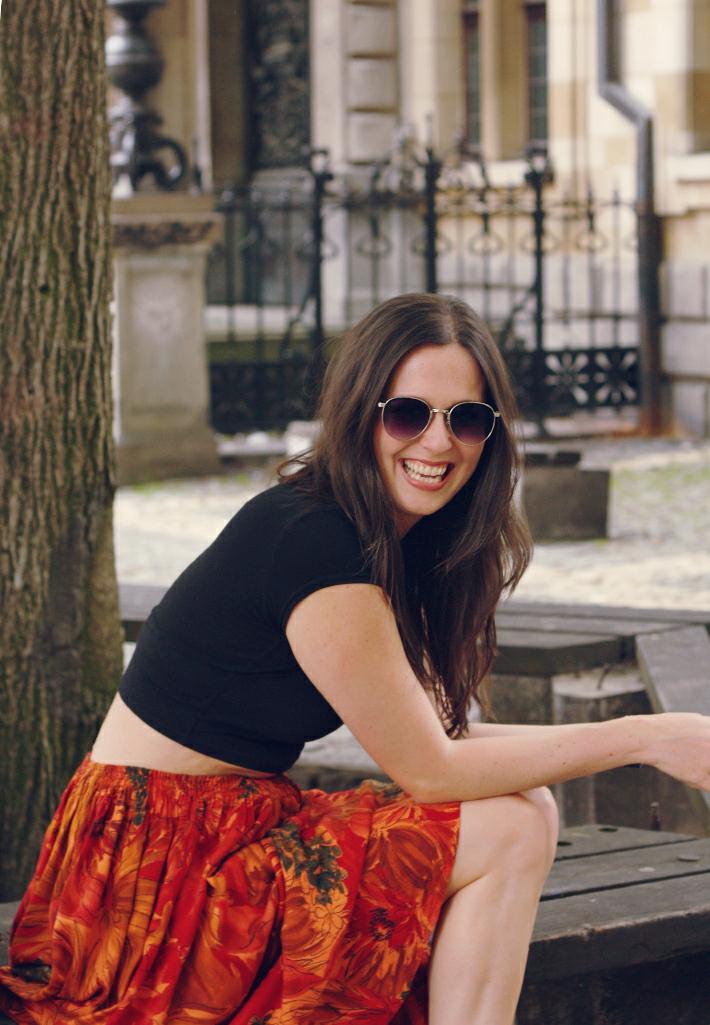 outfit: crop top, vintage floral midi skirt
