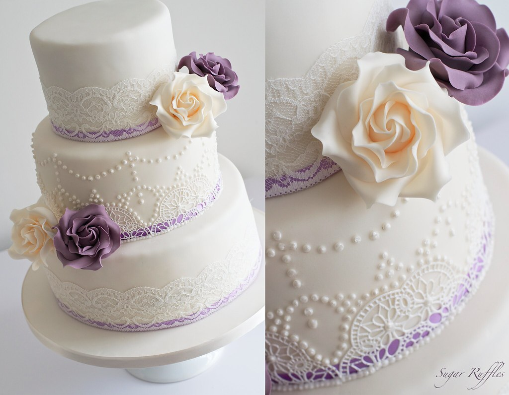Ivory and Purple wedding cake- vintage lace & pearl piping… | Flickr