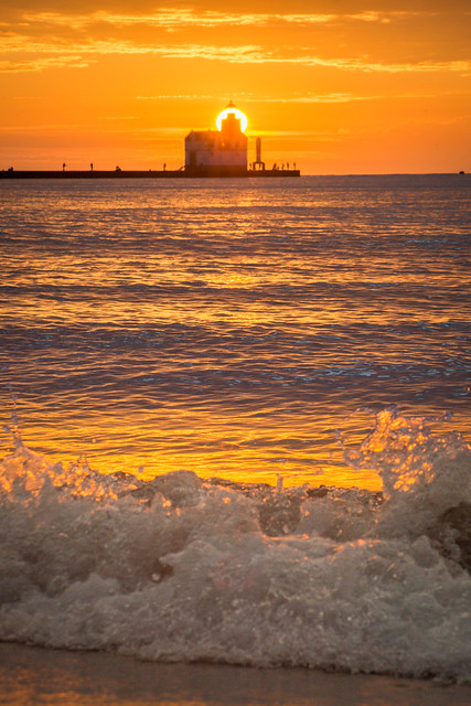 Splash, Waves, Lake Michigan, Lighthouse, Sunrise