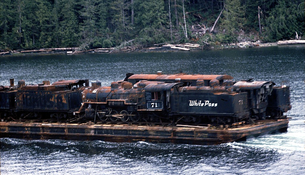 White Pass Locomotive 71 On A Barge Color Slide 1977