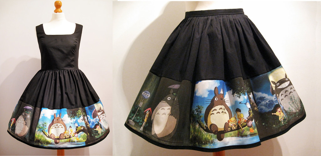 Skirt or dress hand made from My Neighbour Totoro fabric by Frockasaurus
