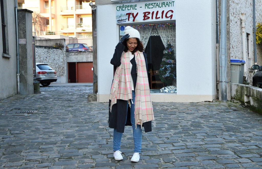 outfit, winter, black trench coat, white supergas, checkered scarf, white beanie, casual