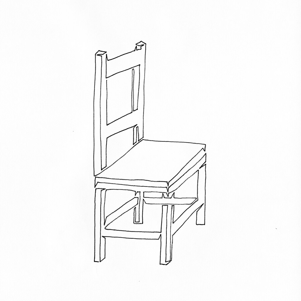 Line Drawing Chair : A single line drawing of wooden chair with slight opti