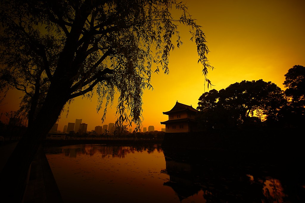 Sunset time at Imperial Palace, Tokyo