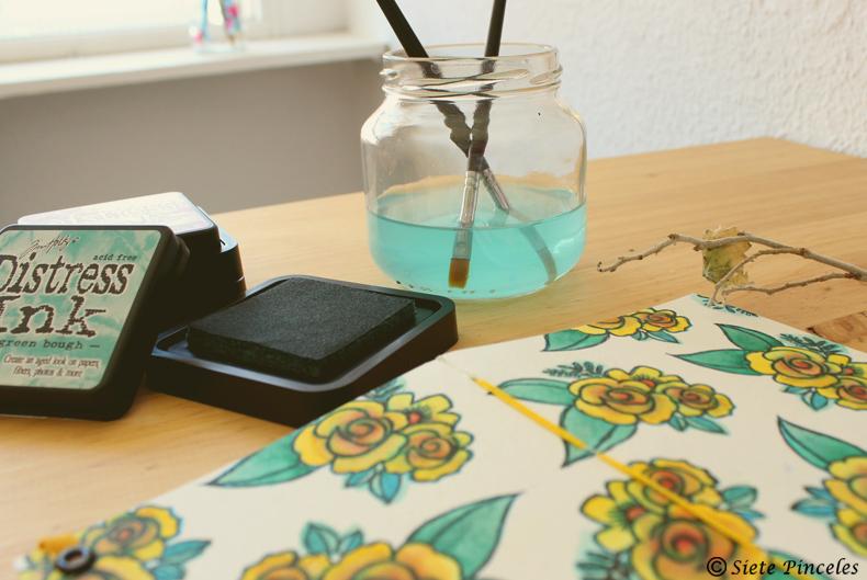 Carvado de sellos - Libreta DIY con acuarela