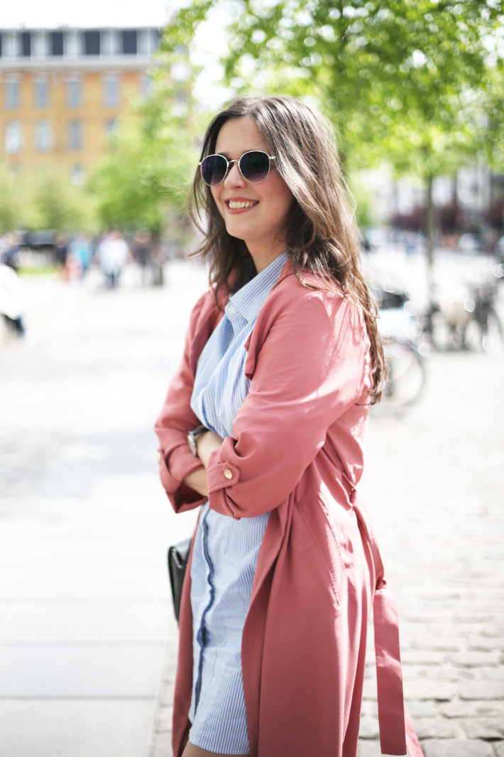 outfit: pinstripe shirtdress, dusty rose duster coat