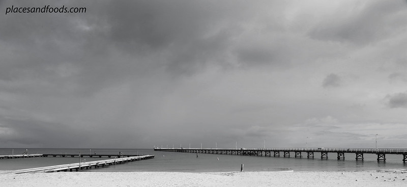busselton jetty wide angle bw