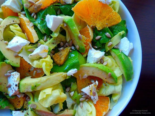 salata cu feta, spanac si portocala