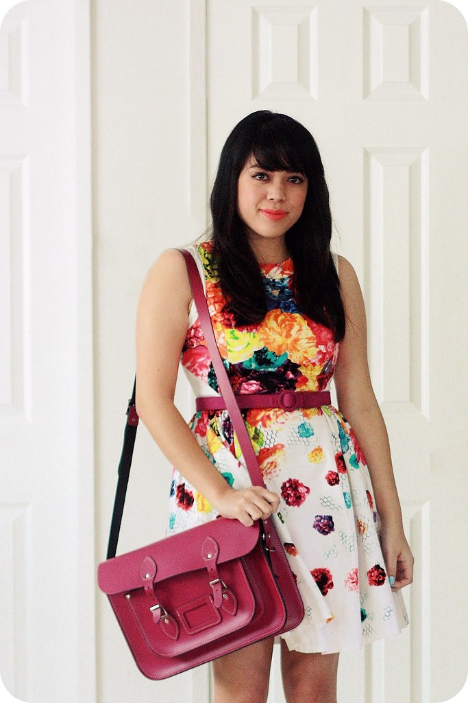Sweets and Hearts outfit style: floral Prabal Gurung for Target dress, fuchsia and orange bow Pansy flats by Seychelles, purple leather satchel by Leather Satchel Co .
